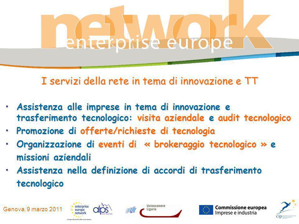 Genova, 9 marzo 2011 I servizi della rete in tema di innovazione e TT Assistenza alle imprese in tema di innovazione e trasferimento tecnologico: visi