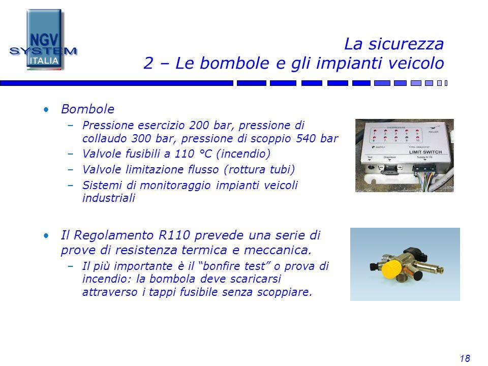 18 La sicurezza 2 – Le bombole e gli impianti veicolo Bombole –Pressione esercizio 200 bar, pressione di collaudo 300 bar, pressione di scoppio 540 ba