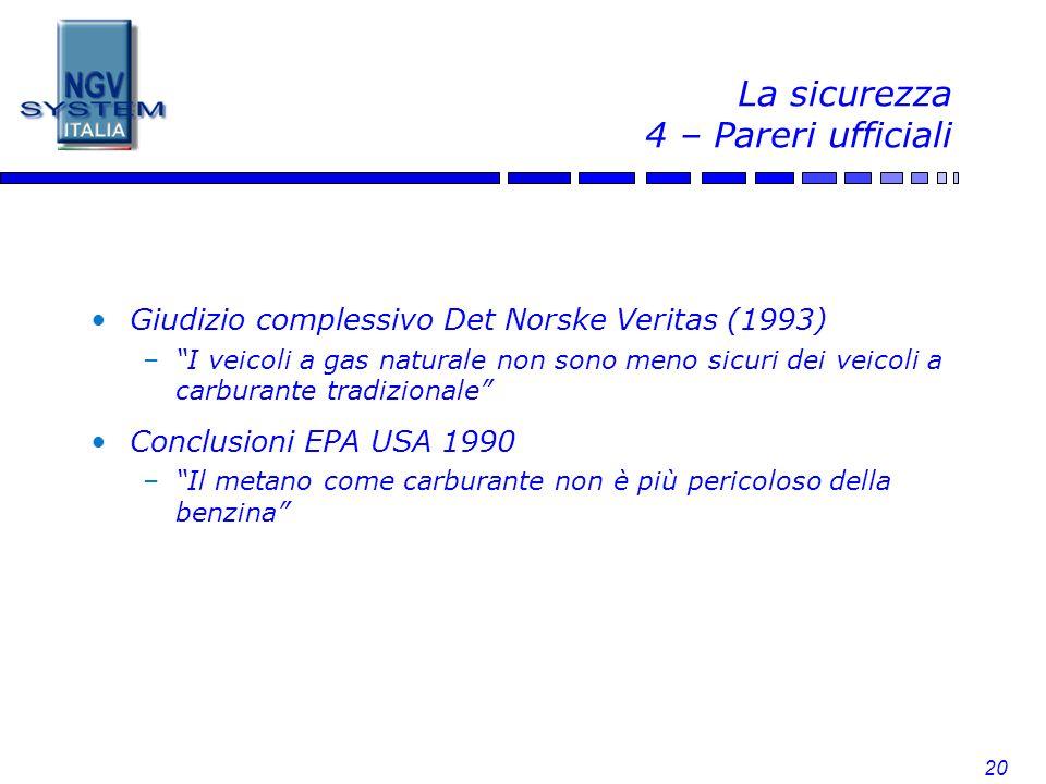 20 La sicurezza 4 – Pareri ufficiali Giudizio complessivo Det Norske Veritas (1993) –I veicoli a gas naturale non sono meno sicuri dei veicoli a carbu