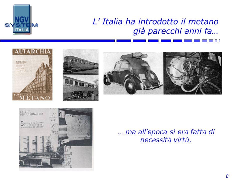 8 L Italia ha introdotto il metano già parecchi anni fa… … ma allepoca si era fatta di necessità virtù.