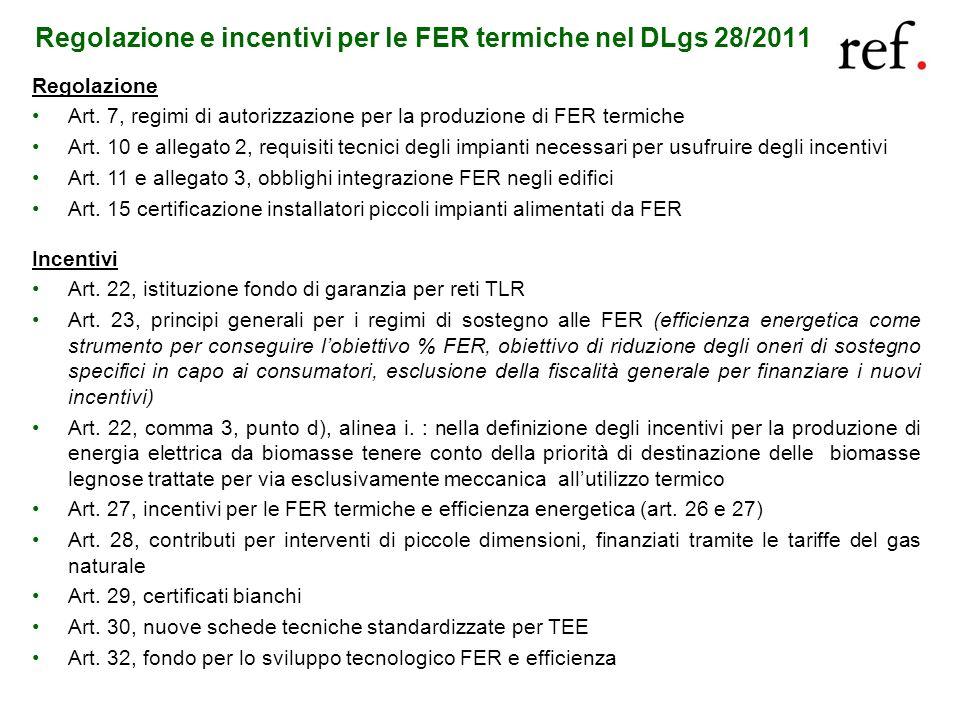 Regolazione e incentivi per le FER termiche nel DLgs 28/2011 Regolazione Art. 7, regimi di autorizzazione per la produzione di FER termiche Art. 10 e