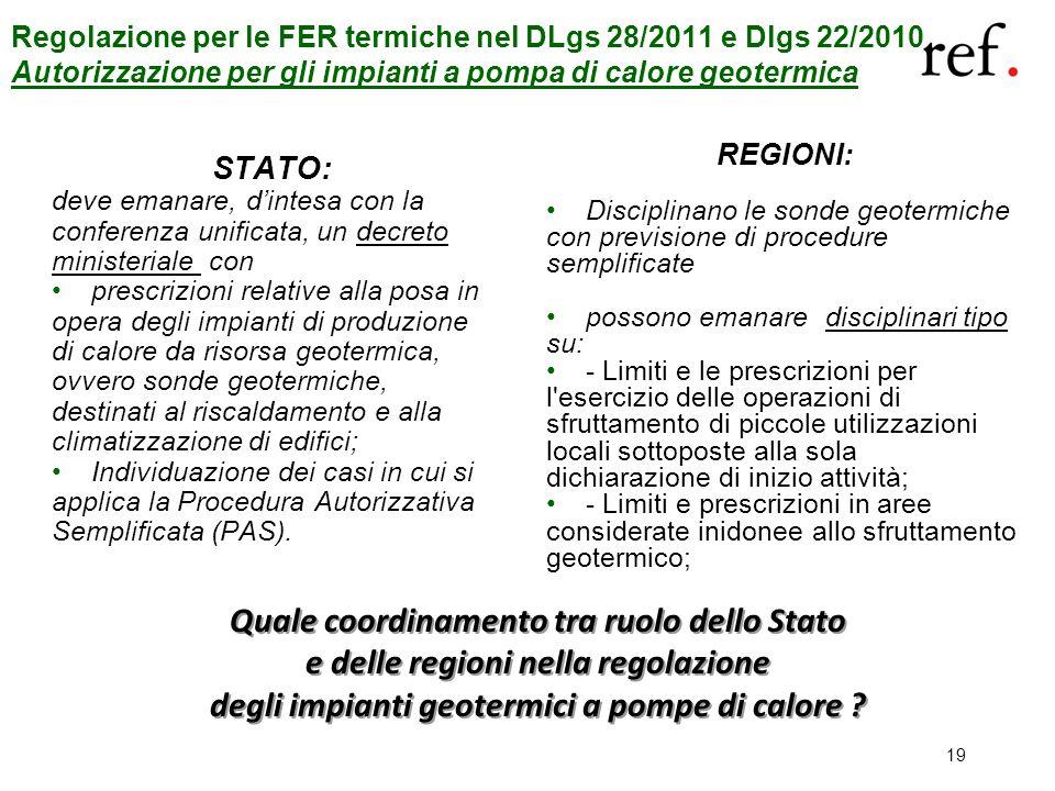 19 STATO: deve emanare, dintesa con la conferenza unificata, un decreto ministeriale con prescrizioni relative alla posa in opera degli impianti di pr