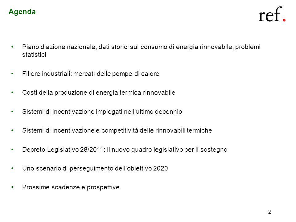 2 Agenda Piano dazione nazionale, dati storici sul consumo di energia rinnovabile, problemi statistici Filiere industriali: mercati delle pompe di cal