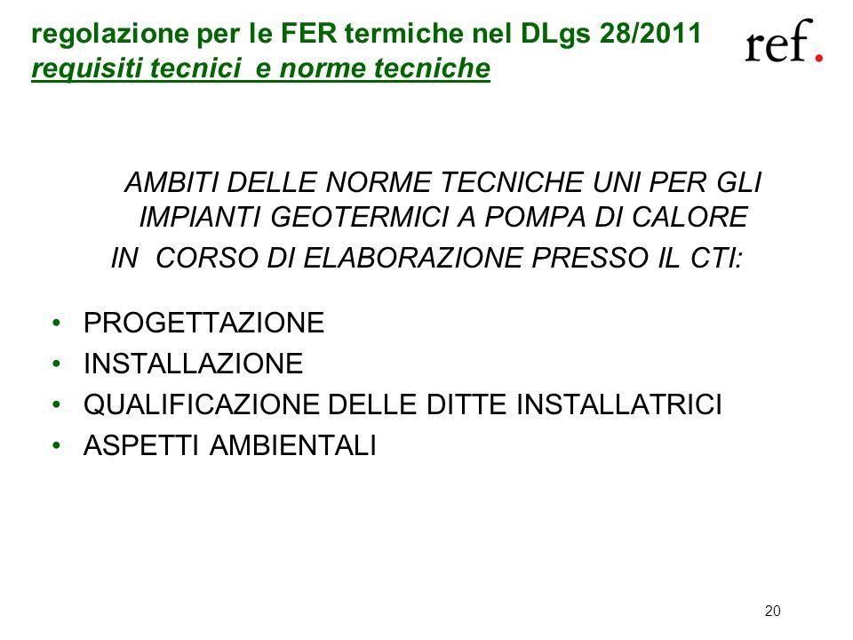 20 regolazione per le FER termiche nel DLgs 28/2011 requisiti tecnici e norme tecniche AMBITI DELLE NORME TECNICHE UNI PER GLI IMPIANTI GEOTERMICI A P
