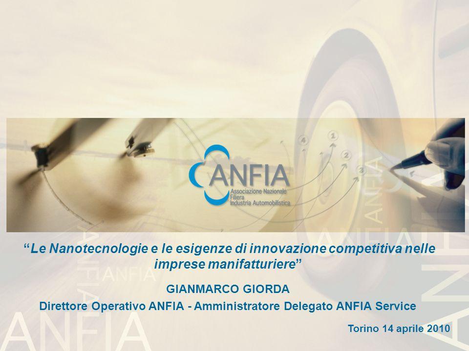 1 1 1 Le Nanotecnologie e le esigenze di innovazione competitiva nelle imprese manifatturiere GIANMARCO GIORDA Direttore Operativo ANFIA - Amministrat