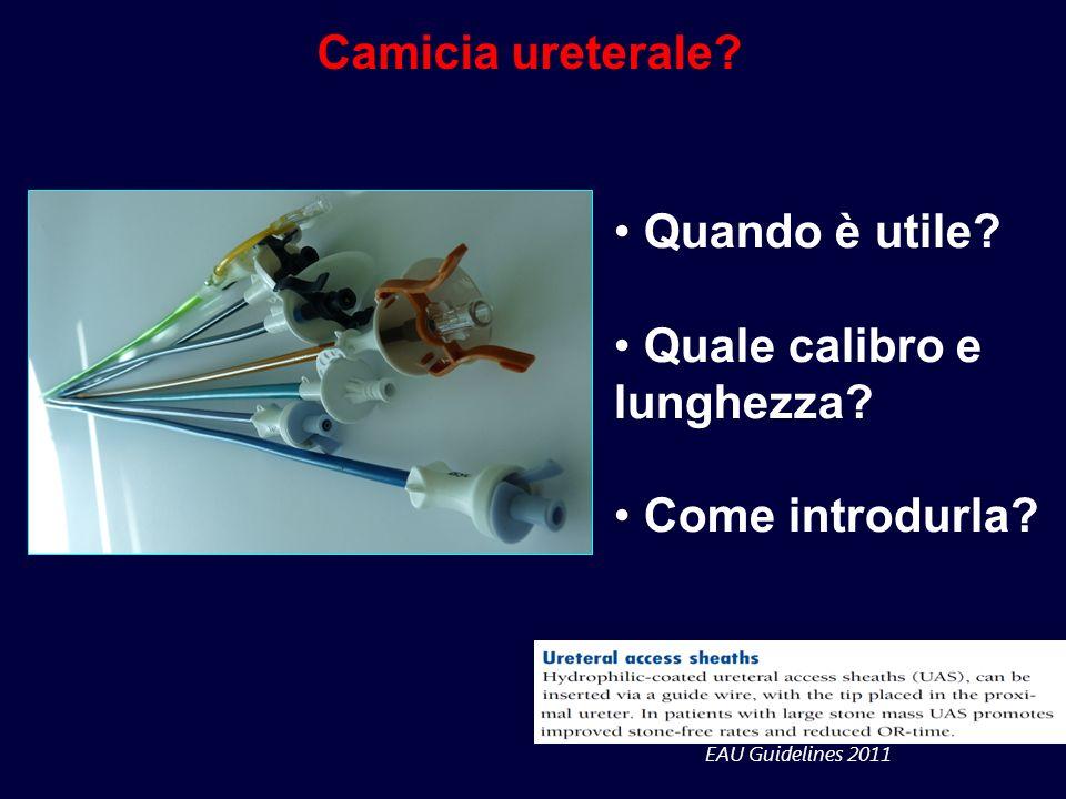 EAU Guidelines 2011 Camicia ureterale? Quando è utile? Quale calibro e lunghezza? Come introdurla?