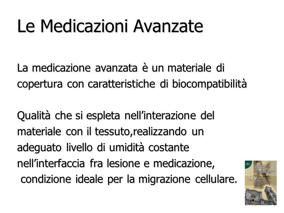 Le Medicazioni Avanzate La medicazione avanzata è un materiale di copertura con caratteristiche di biocompatibilità Qualità che si espleta nellinteraz