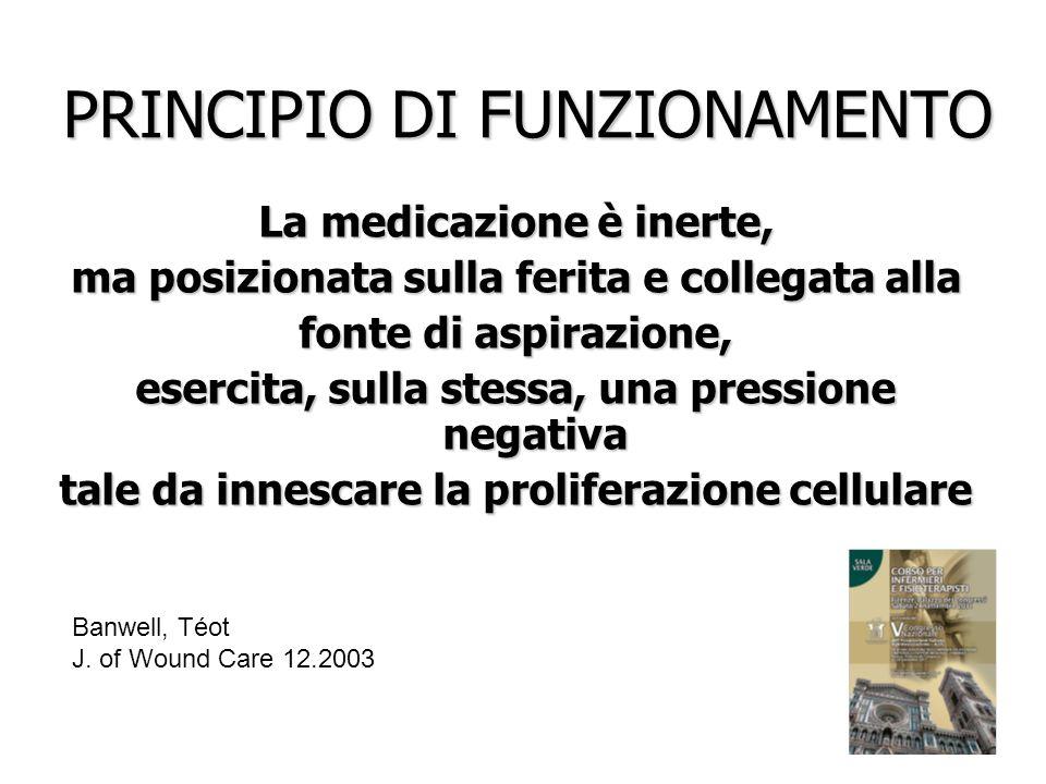 PRINCIPIO DI FUNZIONAMENTO La medicazione è inerte, ma posizionata sulla ferita e collegata alla fonte di aspirazione, esercita, sulla stessa, una pre