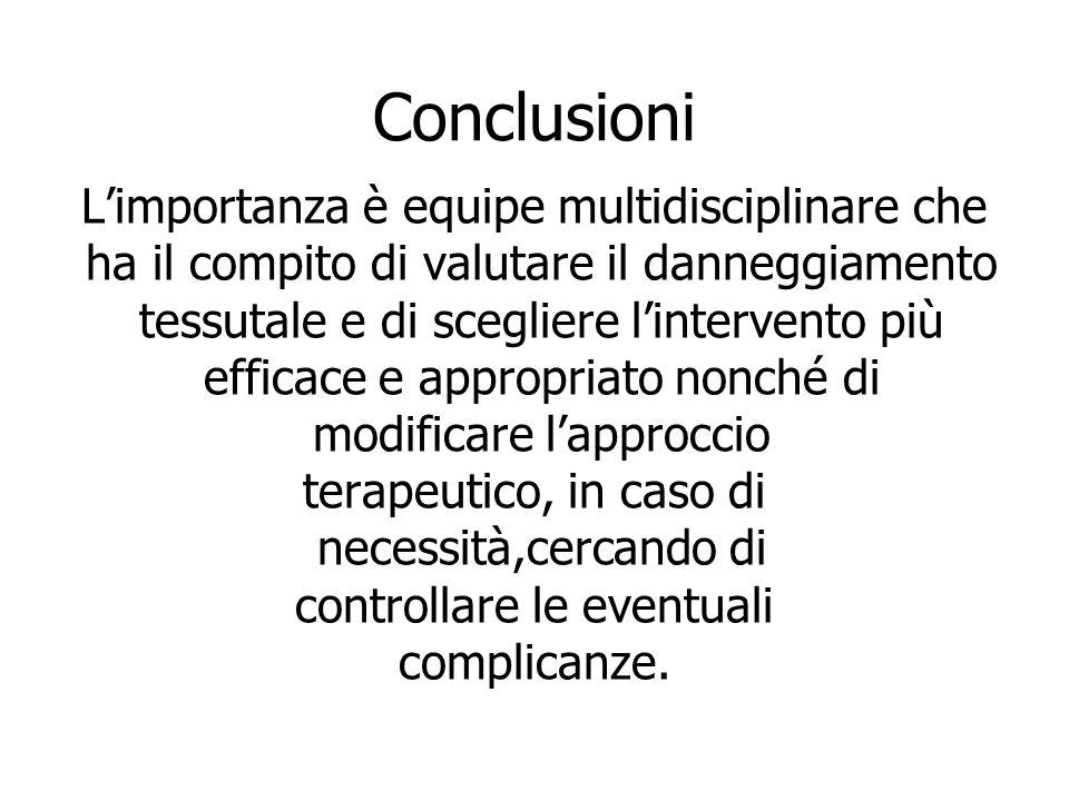 Conclusioni Limportanza è equipe multidisciplinare che ha il compito di valutare il danneggiamento tessutale e di scegliere lintervento più efficace e