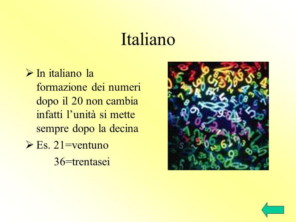 Italiano In italiano la formazione dei numeri dopo il 20 non cambia infatti lunità si mette sempre dopo la decina Es. 21=ventuno 36=trentasei