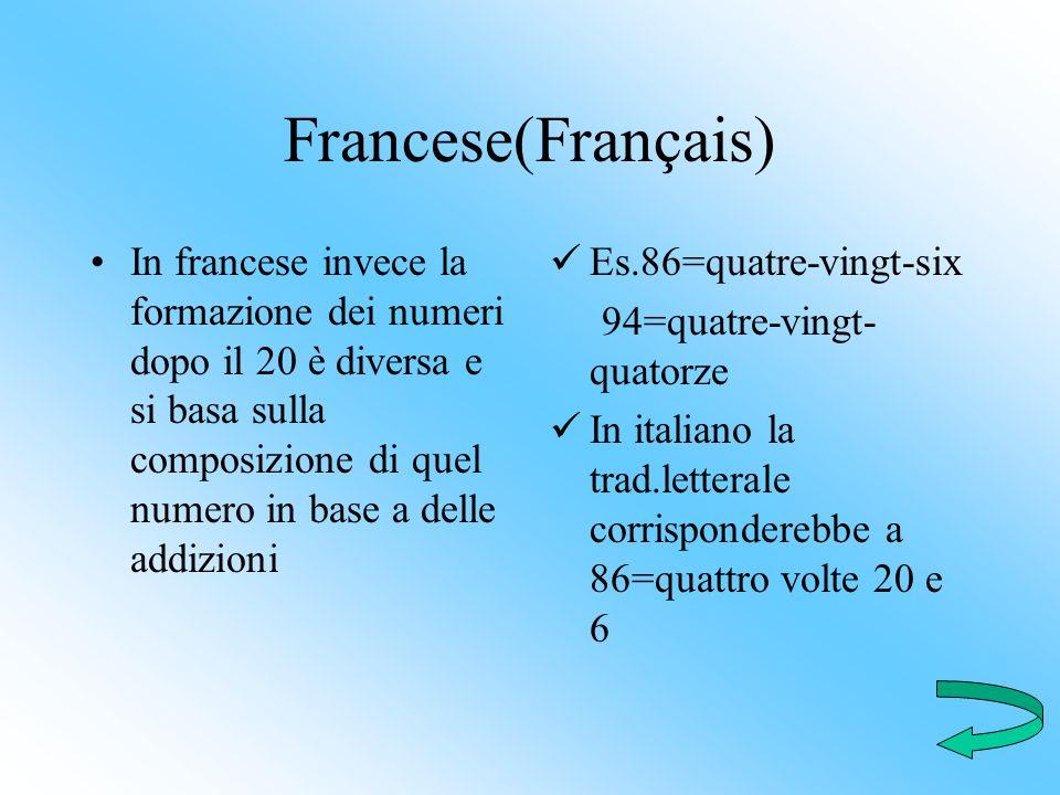 Francese(Français) In francese invece la formazione dei numeri dopo il 20 è diversa e si basa sulla composizione di quel numero in base a delle addizi