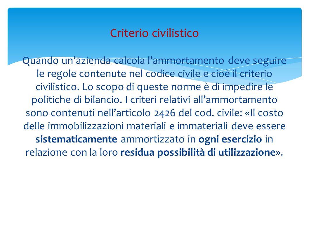 Quando unazienda calcola lammortamento deve seguire le regole contenute nel codice civile e cioè il criterio civilistico. Lo scopo di queste norme è d