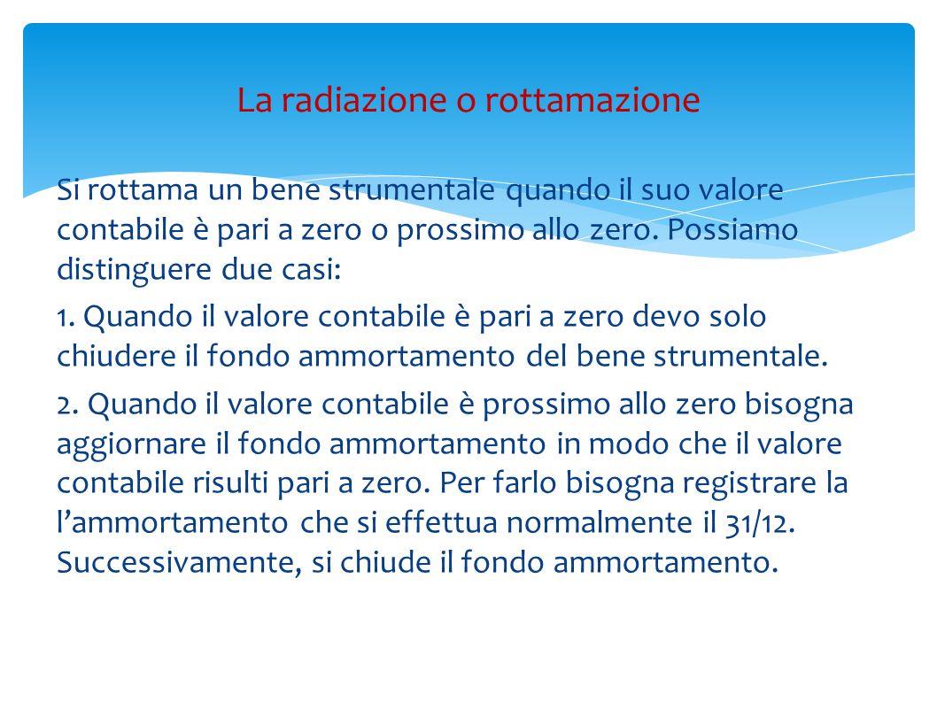 Si rottama un bene strumentale quando il suo valore contabile è pari a zero o prossimo allo zero. Possiamo distinguere due casi: 1. Quando il valore c