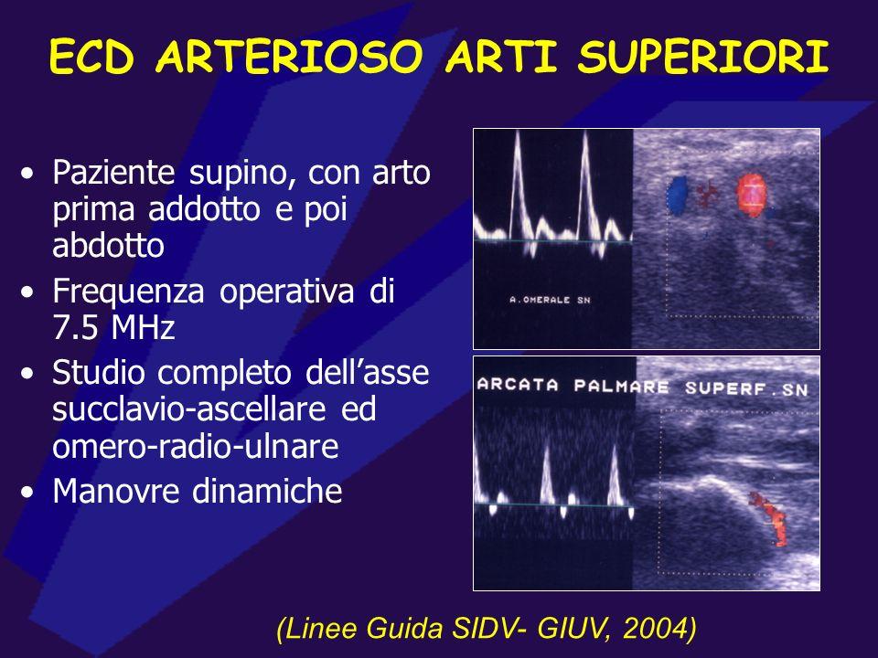 ECD ARTERIOSO ARTI SUPERIORI Paziente supino, con arto prima addotto e poi abdotto Frequenza operativa di 7.5 MHz Studio completo dellasse succlavio-ascellare ed omero-radio-ulnare Manovre dinamiche (Linee Guida SIDV- GIUV, 2004)