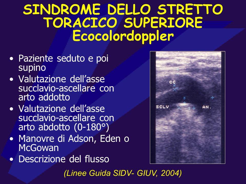 ECD ARTERIOSO ARTI SUPERIORI Paziente supino, con arto prima addotto e poi abdotto Frequenza operativa di 7.5 MHz Studio completo dellasse succlavio-a
