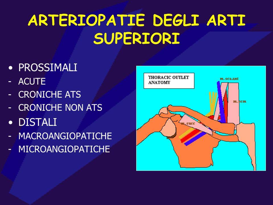ARTERIOPATIE DEGLI ARTI SUPERIORI PROSSIMALI -ACUTE -CRONICHE ATS -CRONICHE NON ATS DISTALI -MACROANGIOPATICHE -MICROANGIOPATICHE
