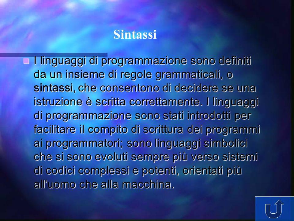 I linguaggi di programmazione sono definiti da un insieme di regole grammaticali, o sintassi, che consentono di decidere se una istruzione è scritta c