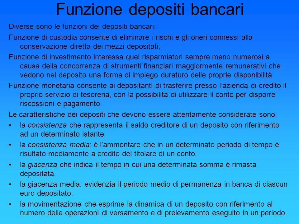 Funzione depositi bancari Diverse sono le funzioni dei depositi bancari: Funzione di custodia consente di eliminare i rischi e gli oneri connessi alla