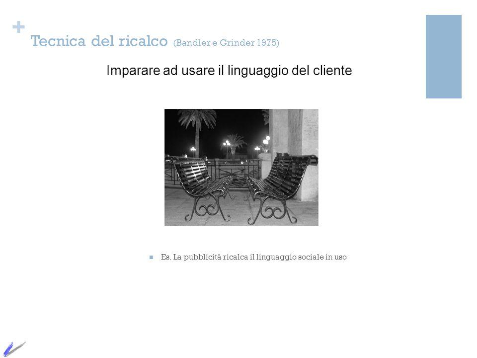 + Tecnica del ricalco (Bandler e Grinder 1975) Es. La pubblicità ricalca il linguaggio sociale in uso Imparare ad usare il linguaggio del cliente