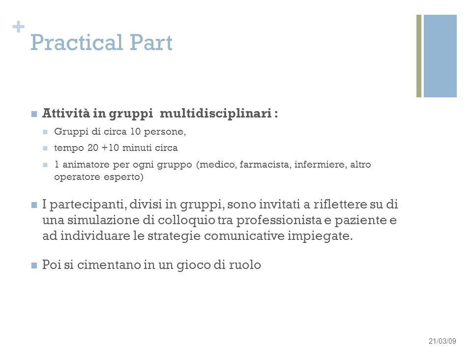 + Practical Part Attività in gruppi multidisciplinari : Gruppi di circa 10 persone, tempo 20 +10 minuti circa 1 animatore per ogni gruppo (medico, far