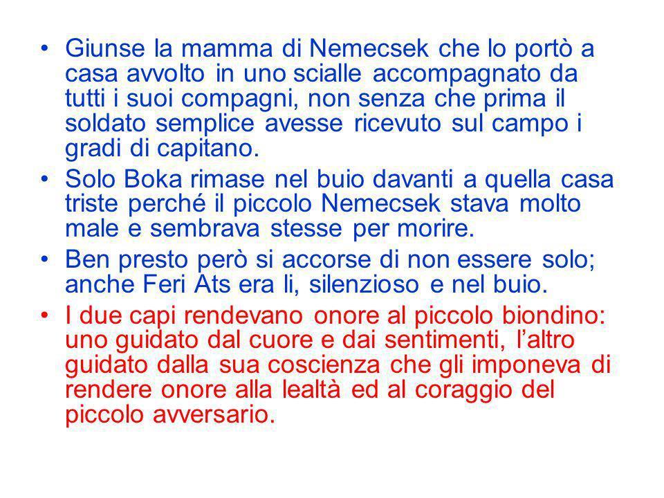 Giunse la mamma di Nemecsek che lo portò a casa avvolto in uno scialle accompagnato da tutti i suoi compagni, non senza che prima il soldato semplice