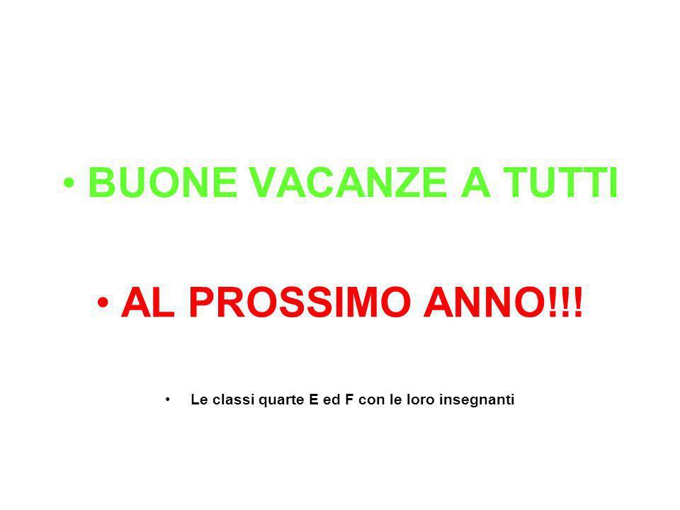 BUONE VACANZE A TUTTI AL PROSSIMO ANNO!!! Le classi quarte E ed F con le loro insegnanti