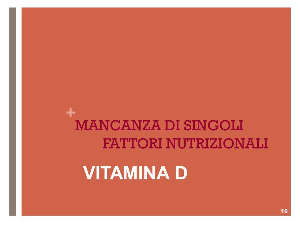 + MANCANZA DI SINGOLI FATTORI NUTRIZIONALI 10 VITAMINA D