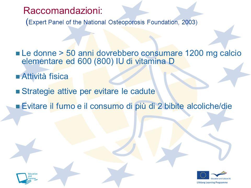 Raccomandazioni: ( Expert Panel of the National Osteoporosis Foundation, 2003) Le donne > 50 anni dovrebbero consumare 1200 mg calcio elementare ed 60