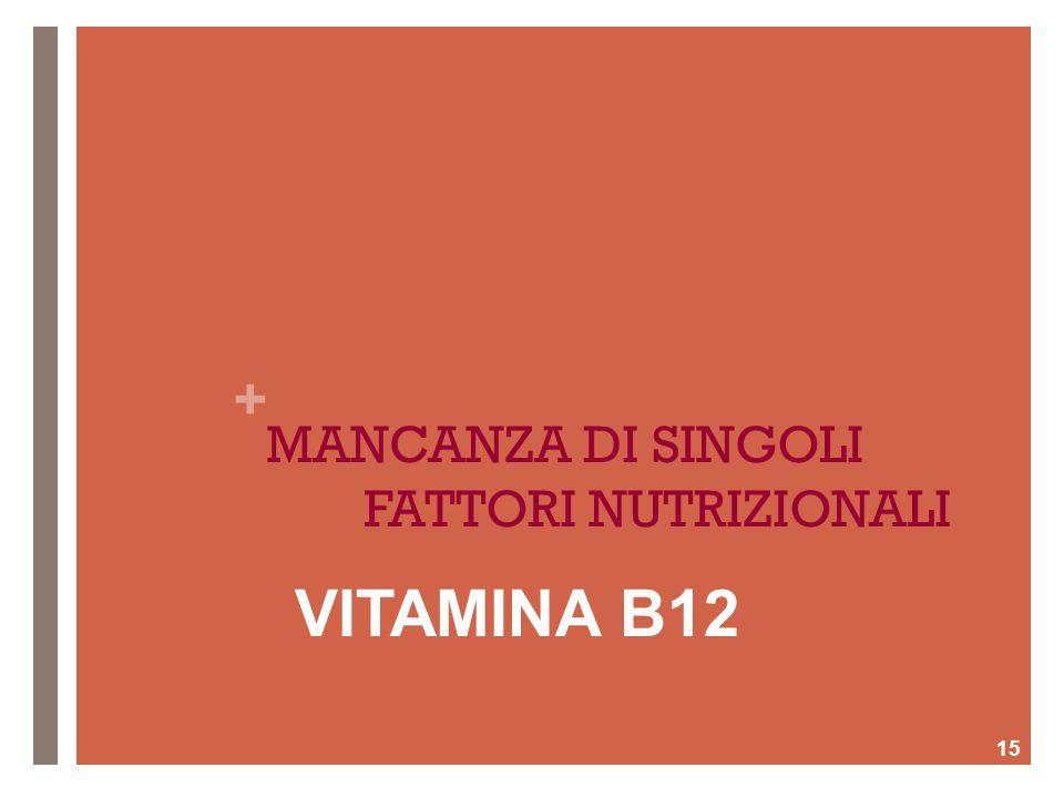 + MANCANZA DI SINGOLI FATTORI NUTRIZIONALI 15 VITAMINA B12