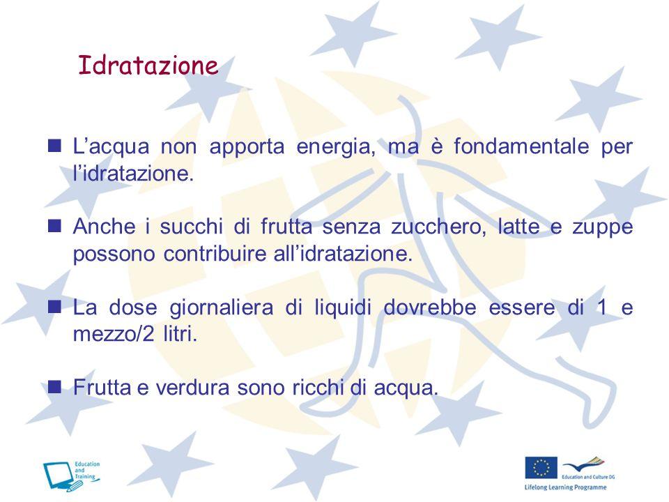 Idratazione Lacqua non apporta energia, ma è fondamentale per lidratazione. Anche i succhi di frutta senza zucchero, latte e zuppe possono contribuire