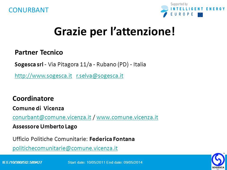 IEE/10/380/SI2.589427 Start date: 10/05/2011 End date: 09/05/2014 CONURBANT Coordinatore Comune di Vicenza conurbant@comune.vicenza.itconurbant@comune.vicenza.it / www.comune.vicenza.itwww.comune.vicenza.it Assessore Umberto Lago Ufficio Politiche Comunitarie: Federica Fontana politichecomunitarie@comune.vicenza.it Grazie per lattenzione.