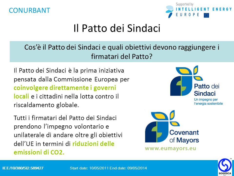 IEE/10/380/SI2.589427 Start date: 10/05/2011 End date: 09/05/2014 CONURBANT Il Patto dei Sindaci Cosè il Patto dei Sindaci e quali obiettivi devono raggiungere i firmatari del Patto.
