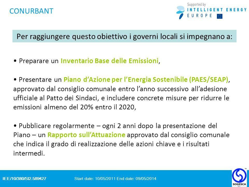 IEE/10/380/SI2.589427 Start date: 10/05/2011 End date: 09/05/2014 CONURBANT Per raggiungere questo obiettivo i governi locali si impegnano a: Preparar