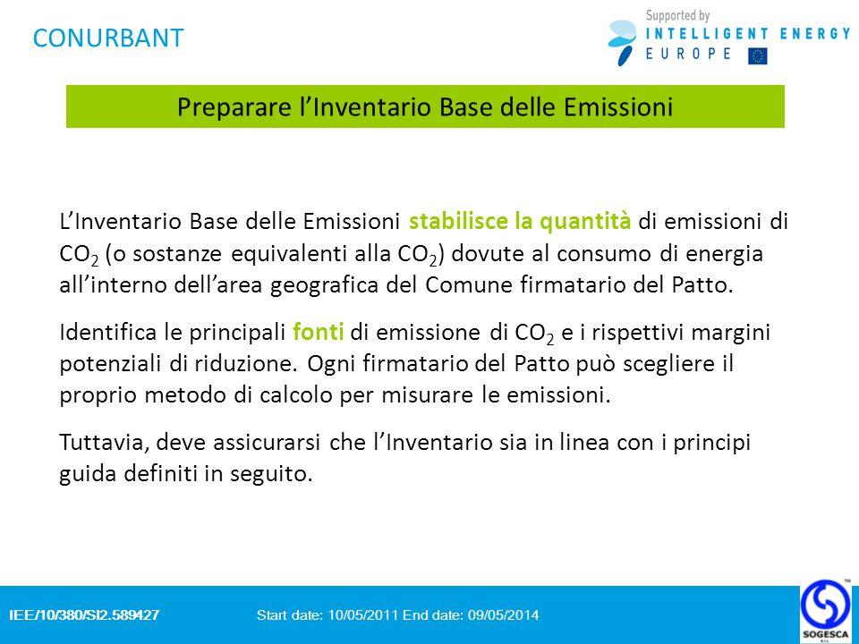 IEE/10/380/SI2.589427 Start date: 10/05/2011 End date: 09/05/2014 CONURBANT Preparare lInventario Base delle Emissioni LInventario Base delle Emissioni stabilisce la quantità di emissioni di CO 2 (o sostanze equivalenti alla CO 2 ) dovute al consumo di energia allinterno dellarea geografica del Comune firmatario del Patto.