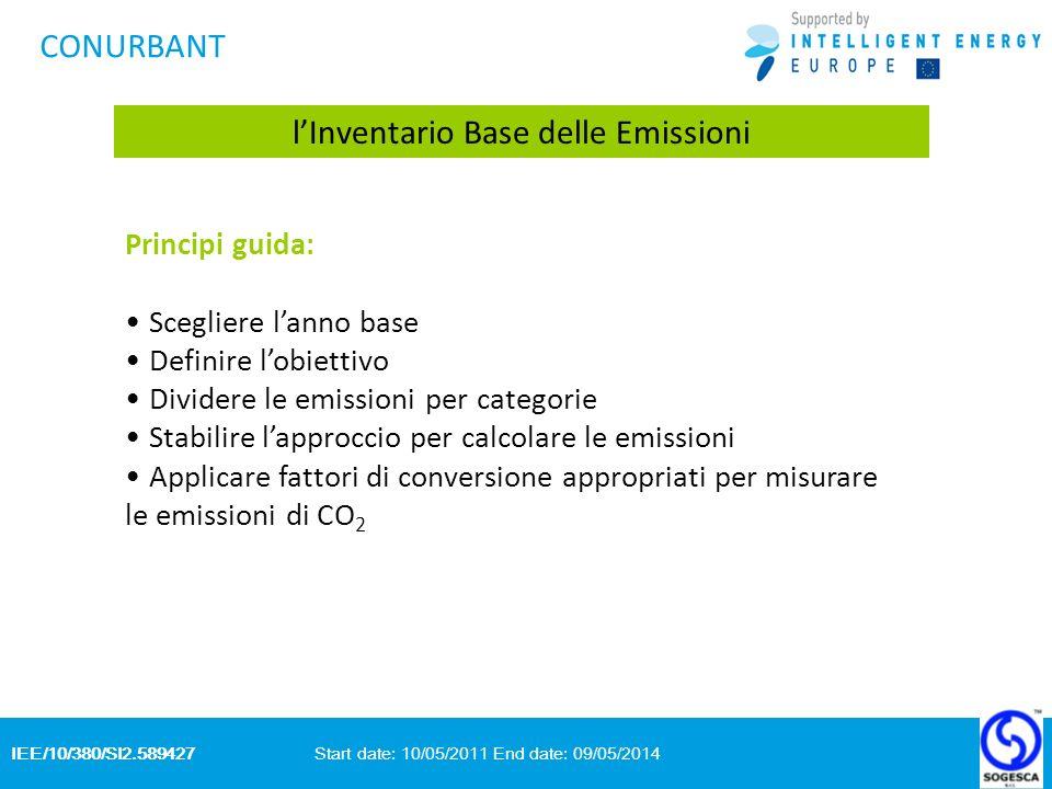 IEE/10/380/SI2.589427 Start date: 10/05/2011 End date: 09/05/2014 CONURBANT lInventario Base delle Emissioni Principi guida: Scegliere lanno base Definire lobiettivo Dividere le emissioni per categorie Stabilire lapproccio per calcolare le emissioni Applicare fattori di conversione appropriati per misurare le emissioni di CO 2