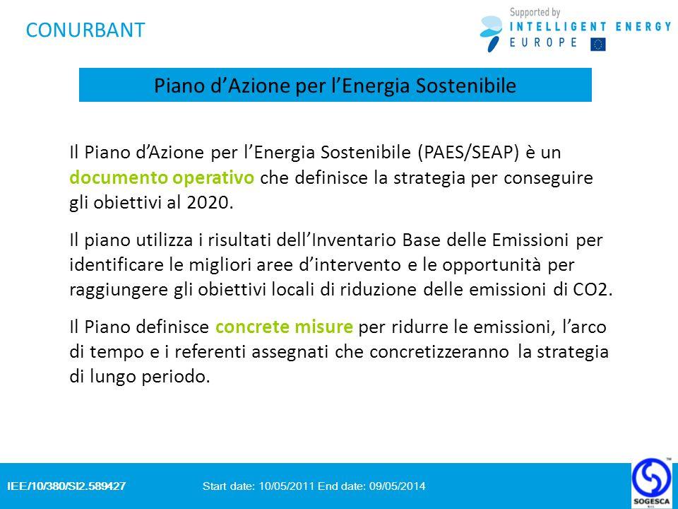 IEE/10/380/SI2.589427 Start date: 10/05/2011 End date: 09/05/2014 CONURBANT Piano dAzione per lEnergia Sostenibile Il Piano dAzione per lEnergia Sostenibile (PAES/SEAP) è un documento operativo che definisce la strategia per conseguire gli obiettivi al 2020.