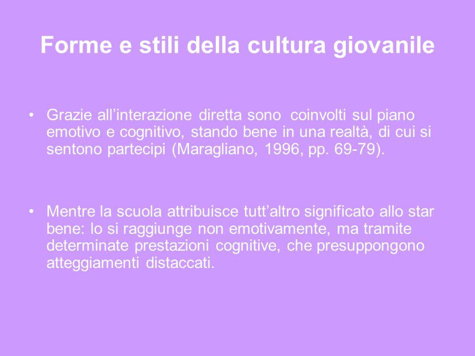 Forme e stili della cultura giovanile Grazie allinterazione diretta sono coinvolti sul piano emotivo e cognitivo, stando bene in una realtà, di cui si sentono partecipi (Maragliano, 1996, pp.