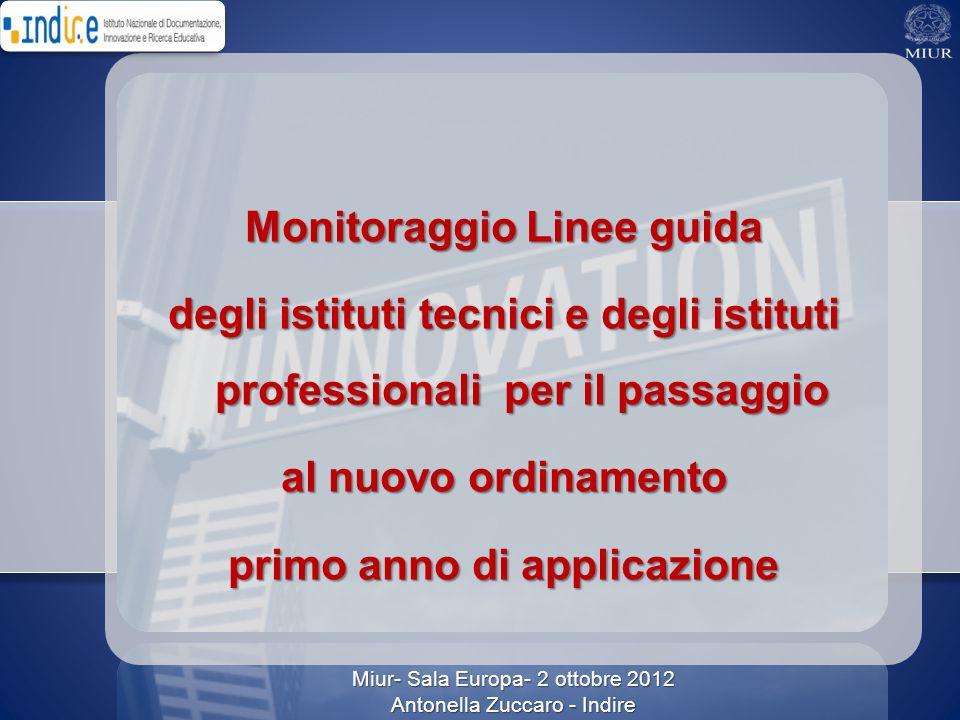 Miur- Sala Europa- 2 ottobre 2012 Antonella Zuccaro - Indire Monitoraggio Linee guida degli istituti tecnici e degli istituti professionali per il pas