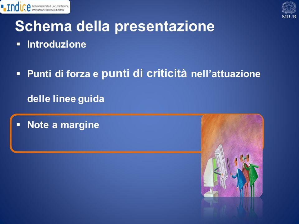 Introduzione Punti di forza e punti di criticità nellattuazione delle linee guida Note a margine Schema della presentazione