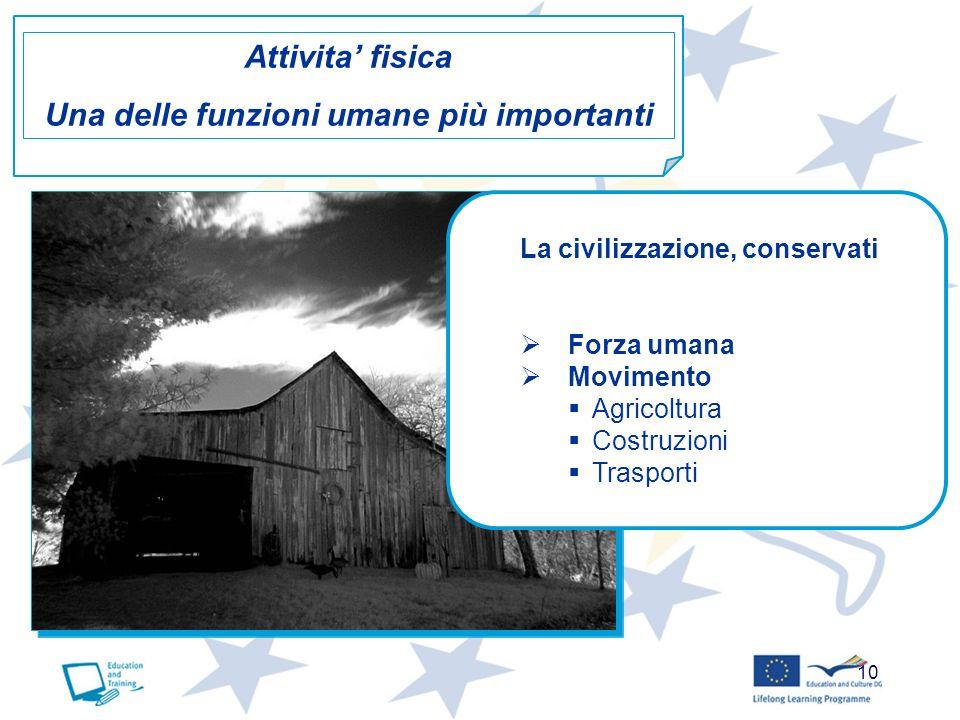10 La civilizzazione, conservati Forza umana Movimento Agricoltura Costruzioni Trasporti Attivita fisica Una delle funzioni umane più importanti