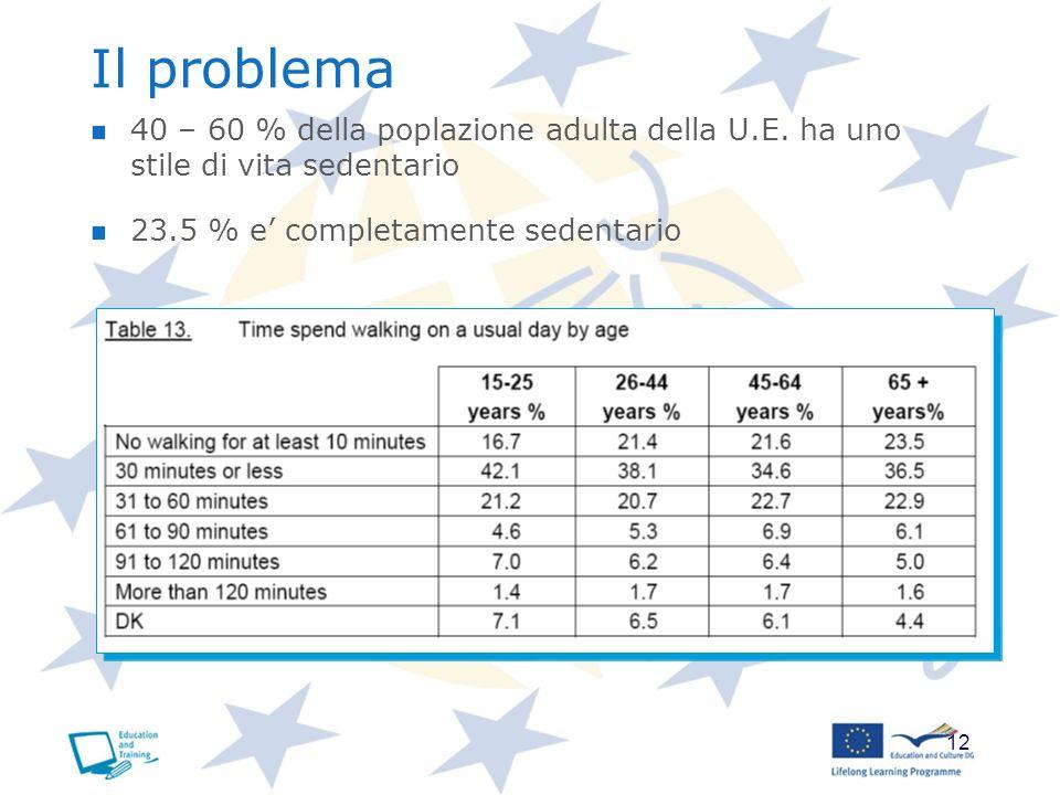 12 Il problema 40 – 60 % della poplazione adulta della U.E. ha uno stile di vita sedentario 23.5 % e completamente sedentario