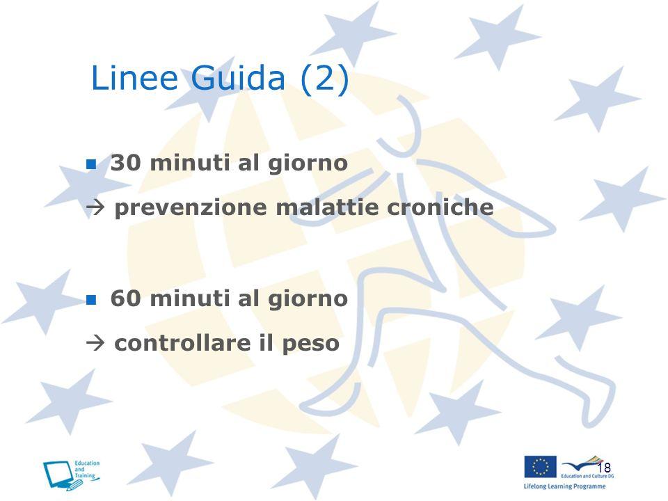 18 Linee Guida (2) 30 minuti al giorno prevenzione malattie croniche 60 minuti al giorno controllare il peso