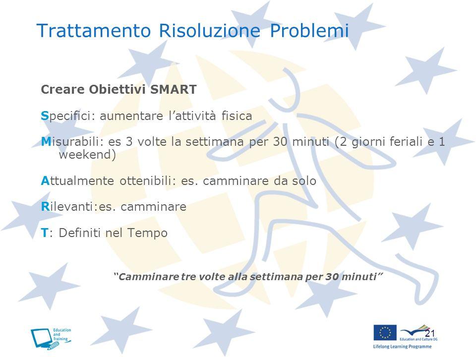 21 Trattamento Risoluzione Problemi Creare Obiettivi SMART Specifici: aumentare lattività fisica Misurabili: es 3 volte la settimana per 30 minuti (2