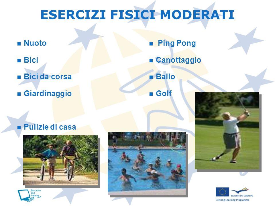 Nuoto Bici Bici da corsa Giardinaggio Pulizie di casa Ping Pong Canottaggio Ballo Golf ESERCIZI FISICI MODERATI
