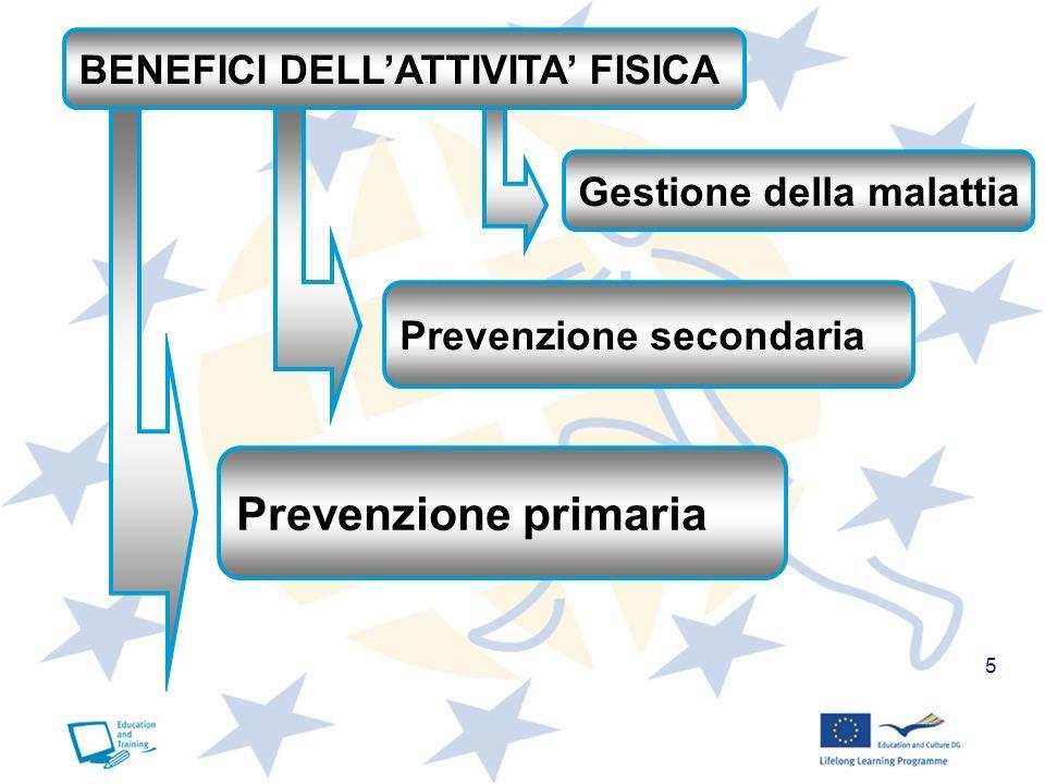 5 BENEFICI DELLATTIVITA FISICA Prevenzione primaria Prevenzione secondaria Gestione della malattia