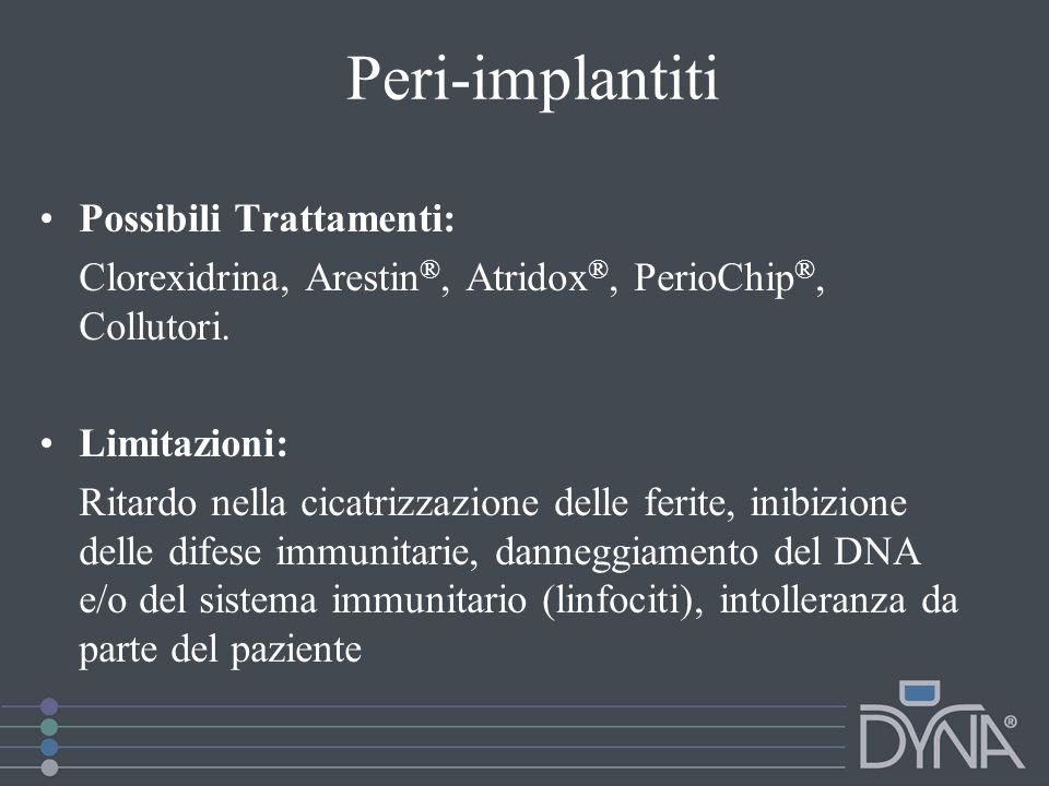 Peri-implantiti Possibili Trattamenti: Clorexidrina, Arestin ®, Atridox ®, PerioChip ®, Collutori. Limitazioni: Ritardo nella cicatrizzazione delle fe