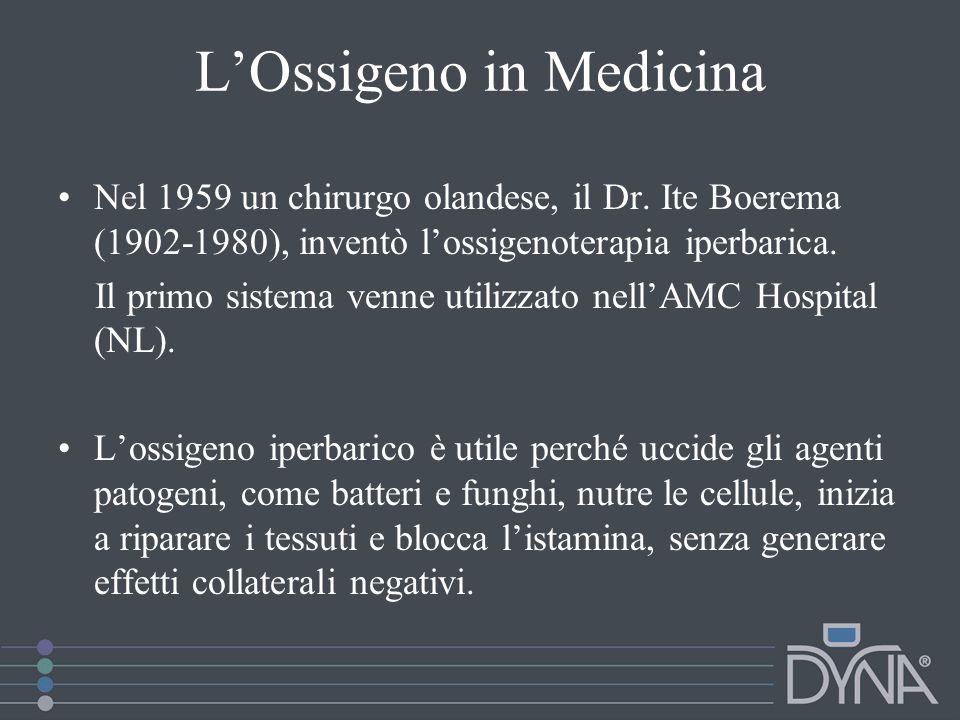 LOssigeno in Medicina Nel 1959 un chirurgo olandese, il Dr. Ite Boerema (1902-1980), inventò lossigenoterapia iperbarica. Il primo sistema venne utili