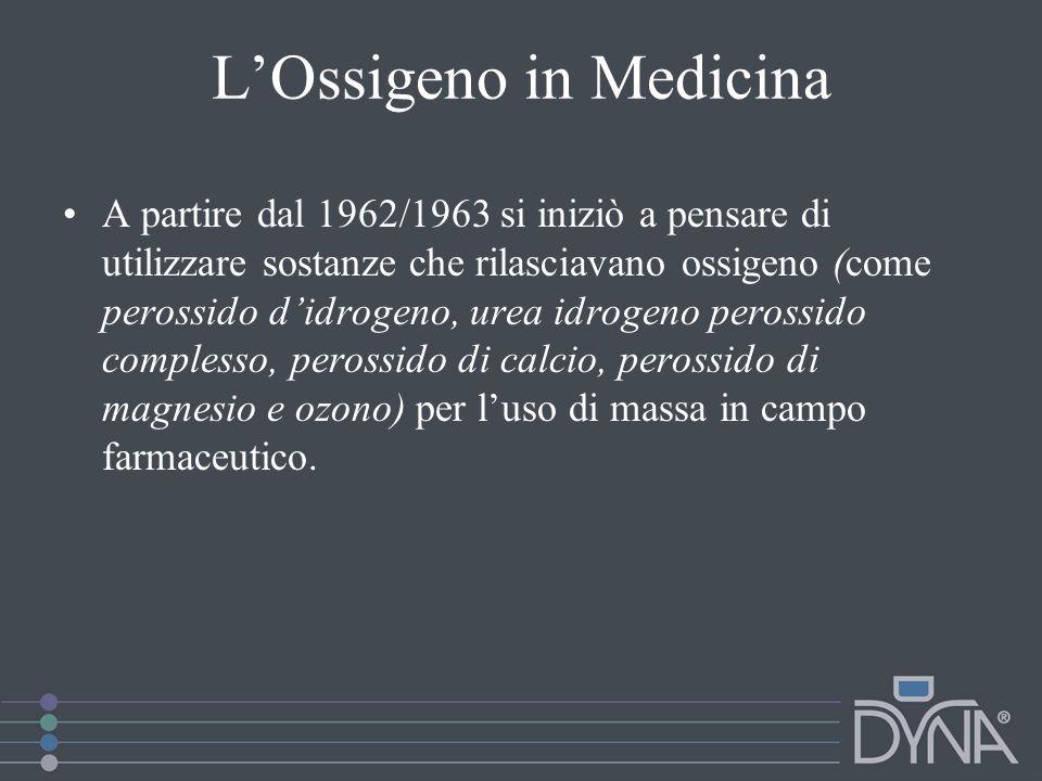 LOssigeno in Medicina A partire dal 1962/1963 si iniziò a pensare di utilizzare sostanze che rilasciavano ossigeno (come perossido didrogeno, urea idr