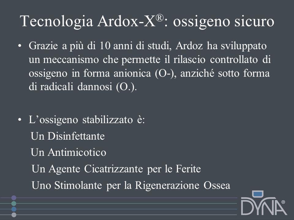 Tecnologia Ardox-X ® : ossigeno sicuro  Sostituisce egregiamente: cortisone, antibiotici, fungicidi, perossidi e clorexidrina