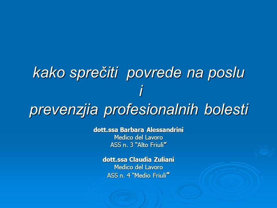 kako sprečiti povrede na poslu i prevenzjia profesionalnih bolesti dott.ssa Barbara Alessandrini Medico del Lavoro ASS n. 3 Alto Friuli dott.ssa Claud